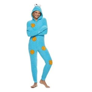 NEW Sesame Street Cookie Monster Union Suit Pajama